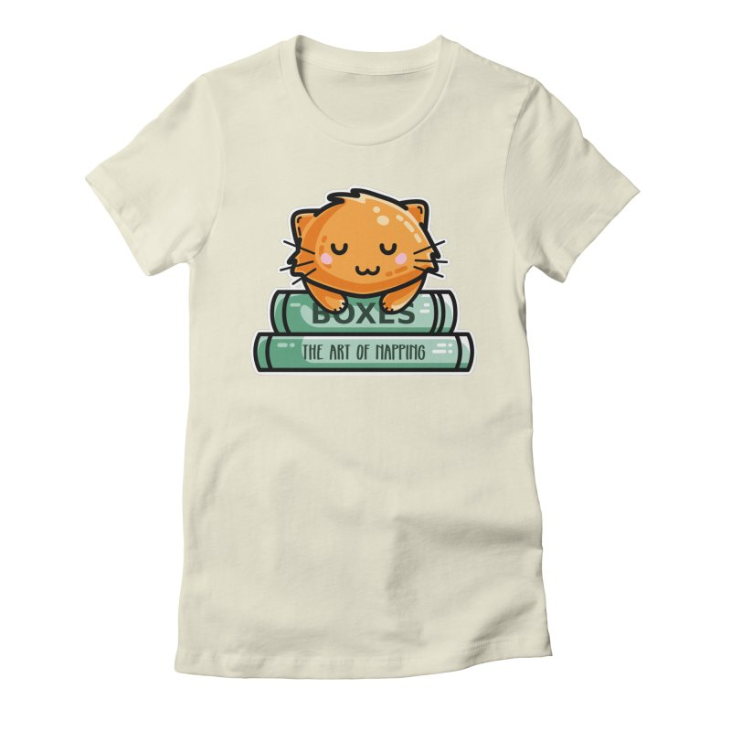 Cute Ginger Cat With Books Women's Fitted T-Shirt by Flaming Imp's Artist Shop