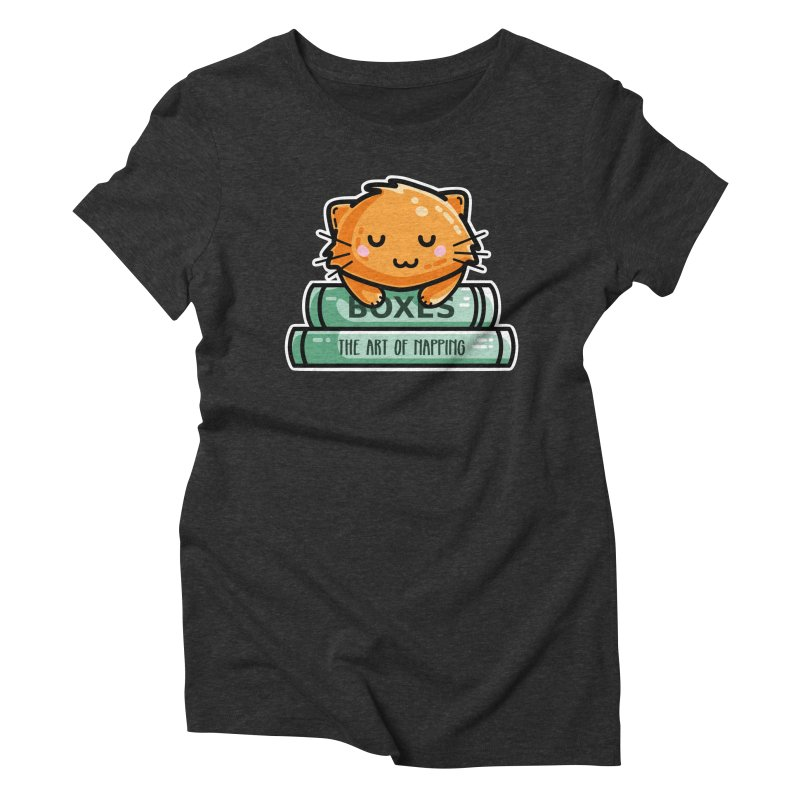Cute Ginger Cat With Books Women's Triblend T-Shirt by Flaming Imp's Artist Shop