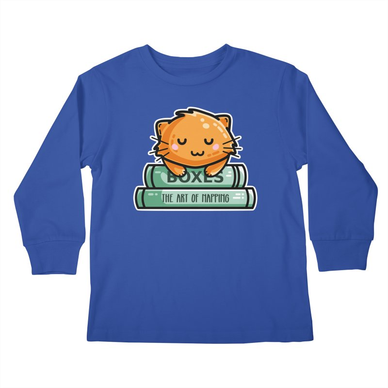 Cute Ginger Cat With Books Kids Longsleeve T-Shirt by Flaming Imp's Artist Shop