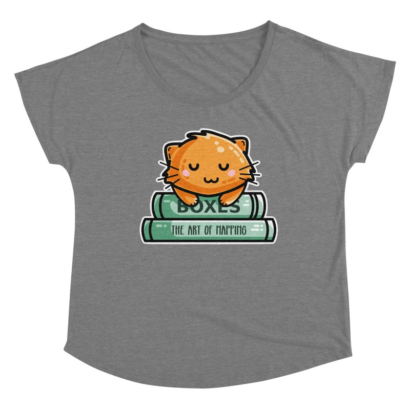 Cute Ginger Cat With Books Fitted Scoop Neck by Flaming Imp's Artist Shop