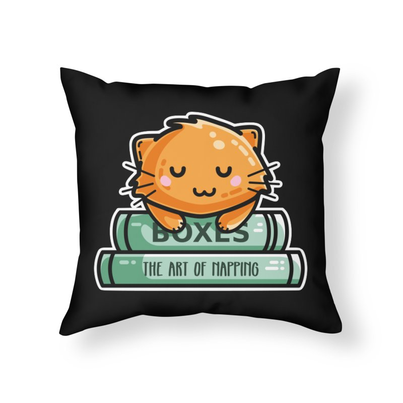 Cute Ginger Cat With Books Home Throw Pillow by Flaming Imp's Artist Shop