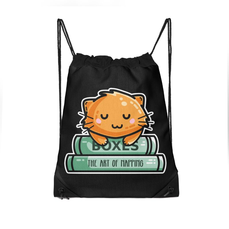 Cute Ginger Cat With Books Accessories Drawstring Bag Bag by Flaming Imp's Artist Shop