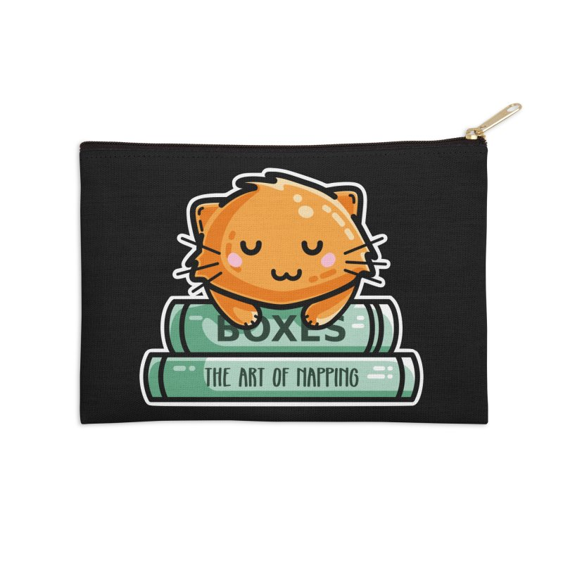 Cute Ginger Cat With Books Masks + Accessories Zip Pouch by Flaming Imp's Artist Shop