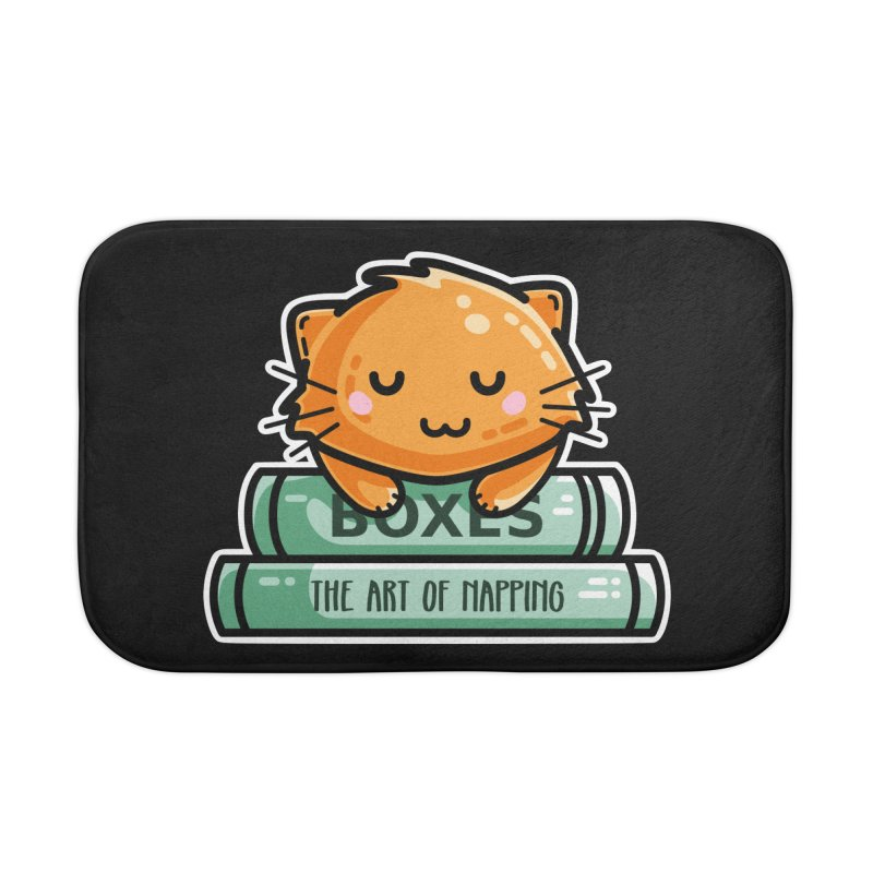 Cute Ginger Cat With Books Home Bath Mat by Flaming Imp's Artist Shop
