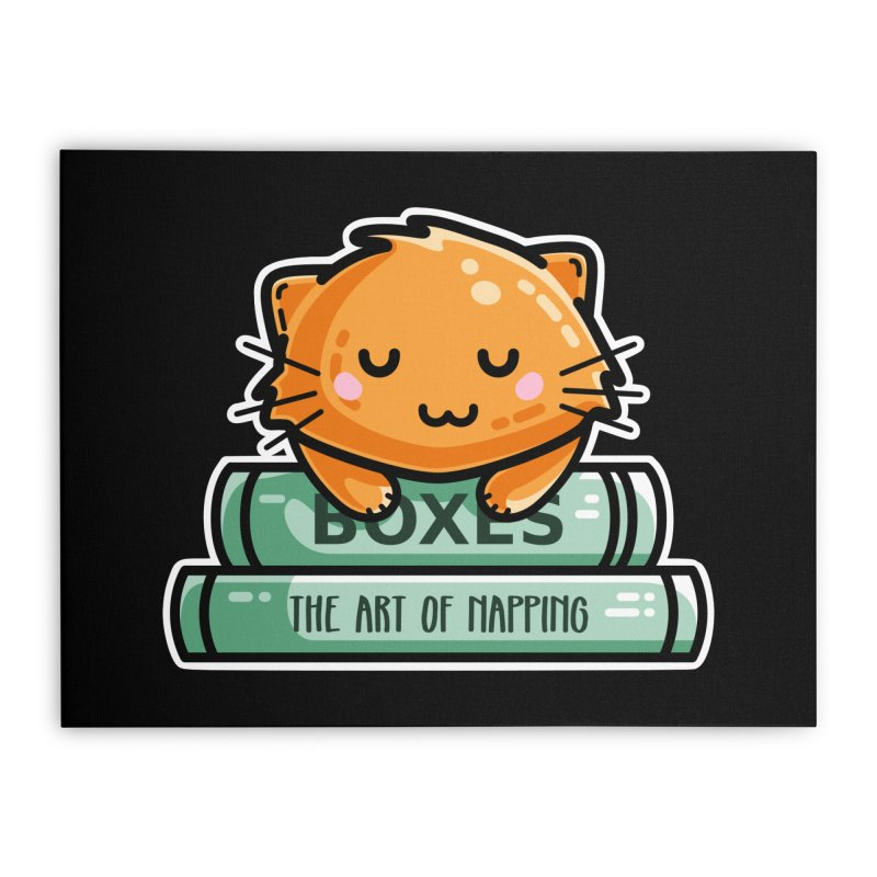 Cute Ginger Cat With Books Home Stretched Canvas by Flaming Imp's Artist Shop
