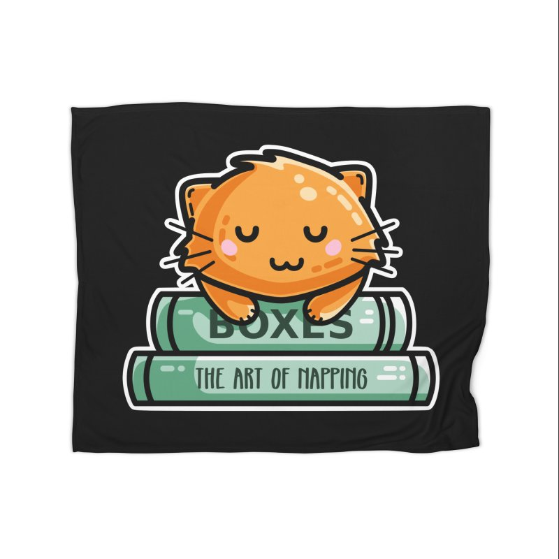 Cute Ginger Cat With Books Home Blanket by Flaming Imp's Artist Shop