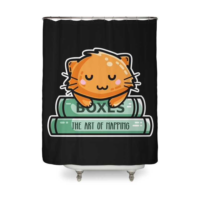 Cute Ginger Cat With Books Home Shower Curtain by Flaming Imp's Artist Shop