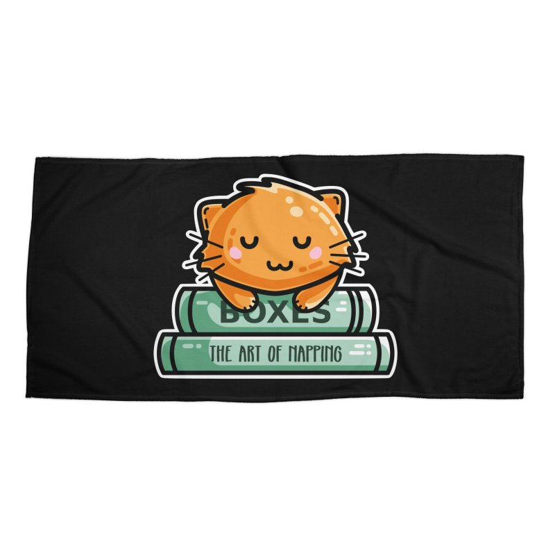 Cute Ginger Cat With Books Accessories Beach Towel by Flaming Imp's Artist Shop