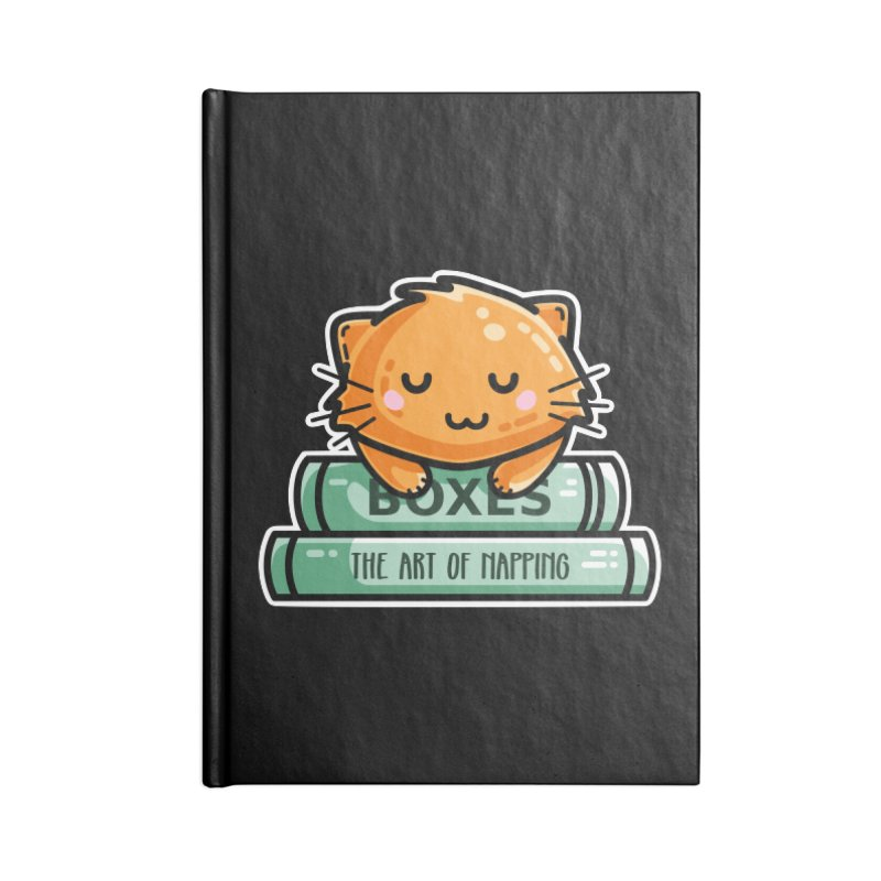 Cute Ginger Cat With Books Accessories Lined Journal Notebook by Flaming Imp's Artist Shop