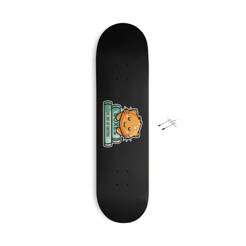 Cute Ginger Cat With Books Masks + Accessories Skateboard by Flaming Imp's Artist Shop