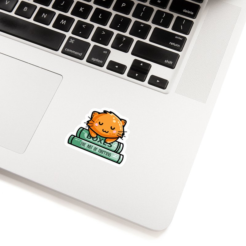 Cute Ginger Cat With Books Accessories Sticker by Flaming Imp's Artist Shop