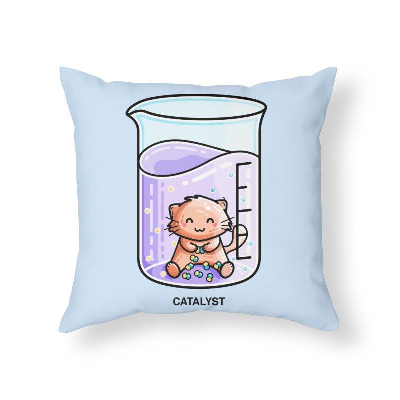 Catalyst Cute Chemistry Cat Pun Home Throw Pillow by Flaming Imp's Artist Shop