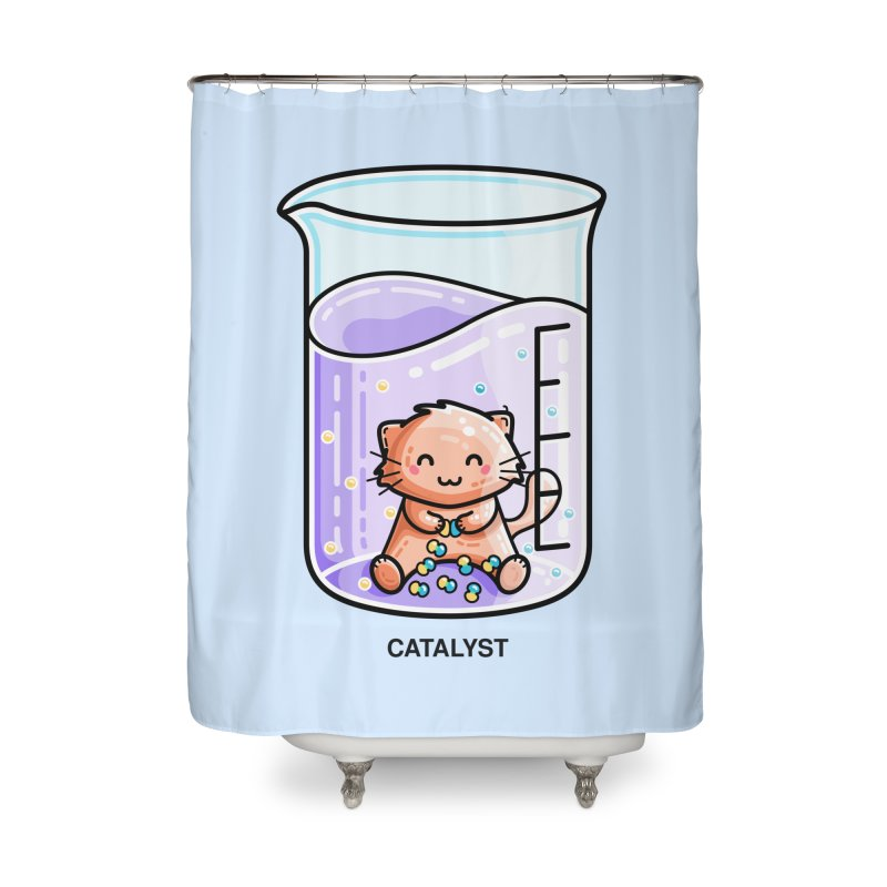 Catalyst Cute Chemistry Cat Pun Home Shower Curtain by Flaming Imp's Artist Shop