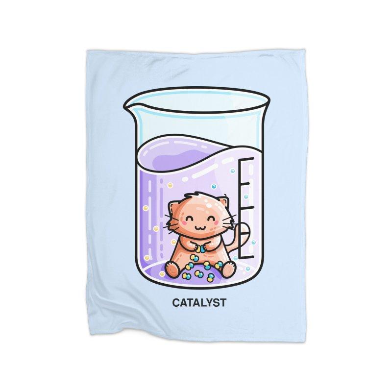 Catalyst Cute Chemistry Cat Pun Home Fleece Blanket Blanket by Flaming Imp's Artist Shop