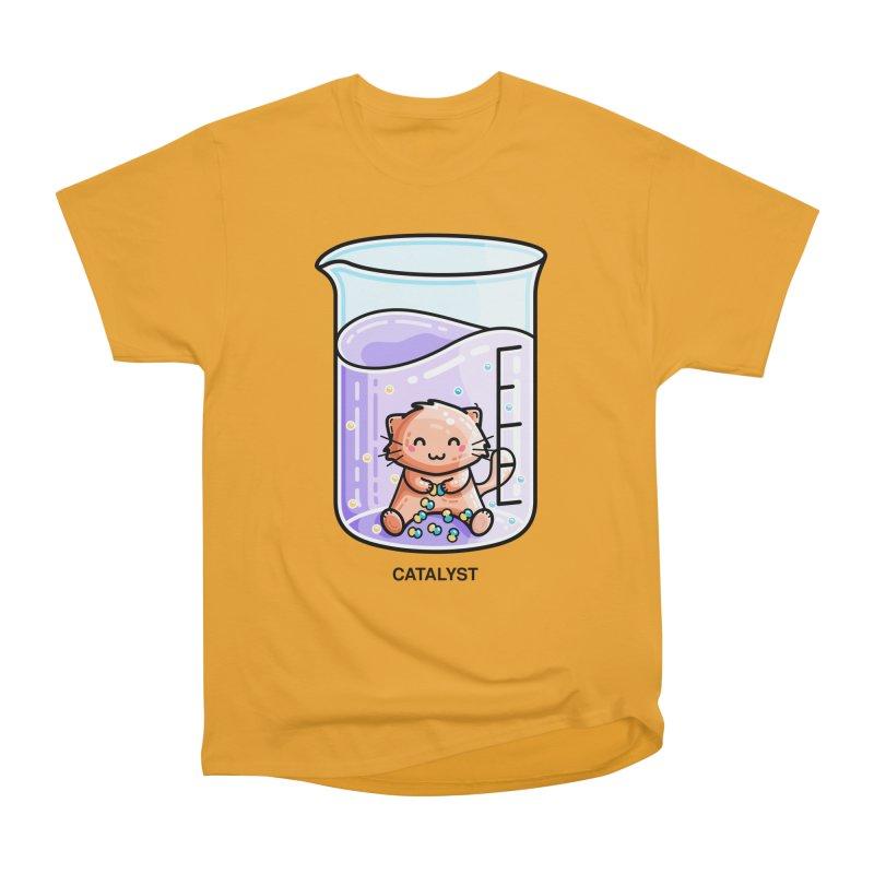 Catalyst Cute Chemistry Cat Pun Men's Heavyweight T-Shirt by Flaming Imp's Artist Shop