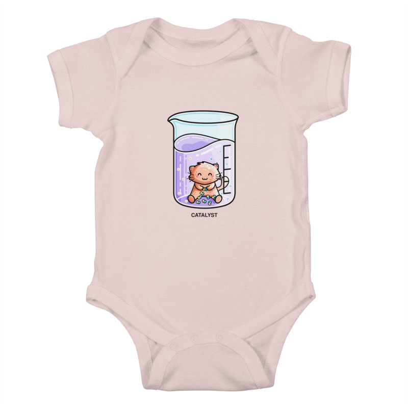 Catalyst Cute Chemistry Cat Pun Kids Baby Bodysuit by Flaming Imp's Artist Shop