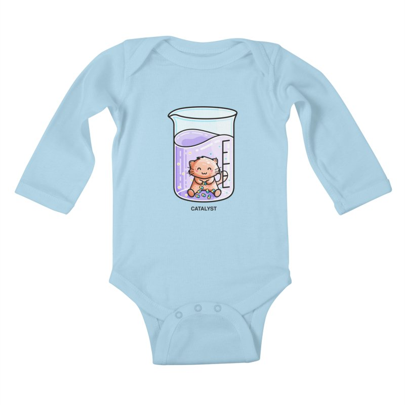Catalyst Cute Chemistry Cat Pun Kids Baby Longsleeve Bodysuit by Flaming Imp's Artist Shop