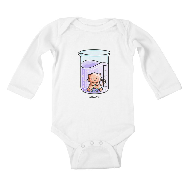 Catalyst Cute Chemistry Cat Pun Kids Baby Longsleeve Bodysuit by Flaming Imp's Artist Shop