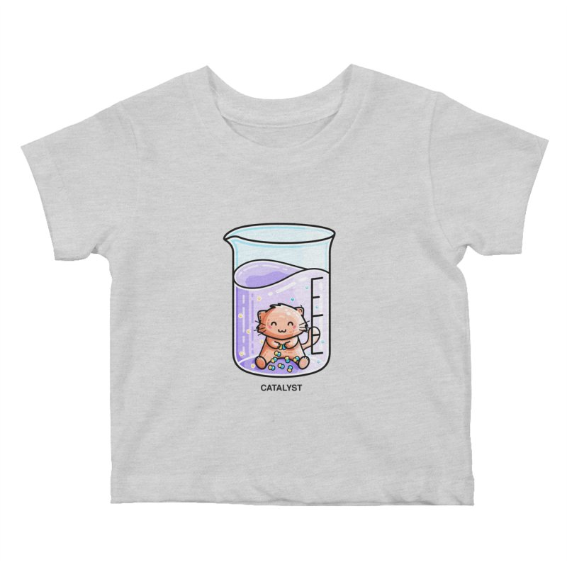 Catalyst Cute Chemistry Cat Pun Kids Baby T-Shirt by Flaming Imp's Artist Shop