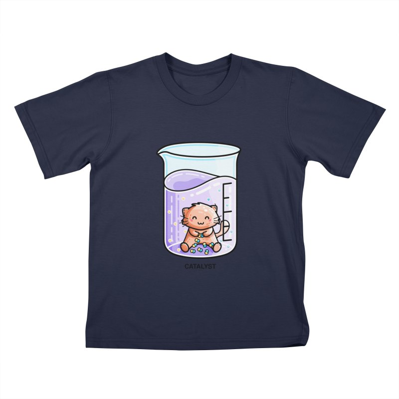 Catalyst Cute Chemistry Cat Pun Kids T-Shirt by Flaming Imp's Artist Shop