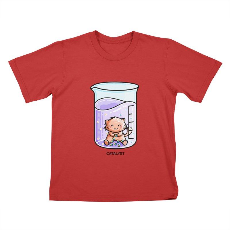 Catalyst Cute Chemistry Cat Pun Kids T-Shirt by Flaming Imp's Artist Shop