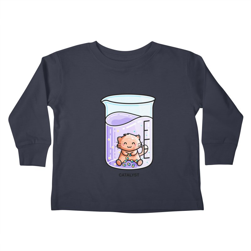 Catalyst Cute Chemistry Cat Pun Kids Toddler Longsleeve T-Shirt by Flaming Imp's Artist Shop