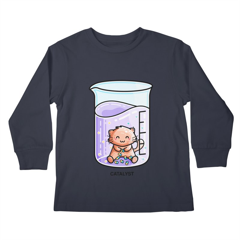 Catalyst Cute Chemistry Cat Pun Kids Longsleeve T-Shirt by Flaming Imp's Artist Shop