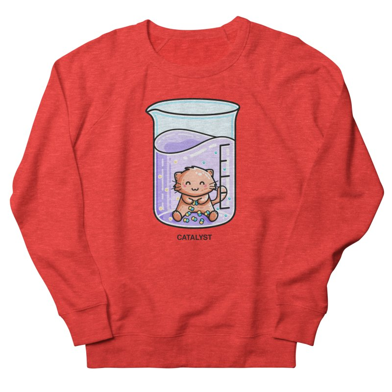 Catalyst Cute Chemistry Cat Pun Fitted Sweatshirt by Flaming Imp's Artist Shop