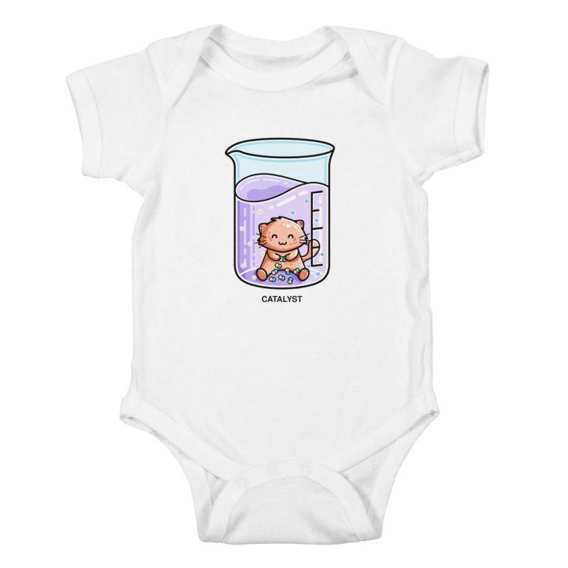 Catalyst Cute Chemistry Cat Pun Kids Baby Bodysuit by Flaming Imp's Artist Shop