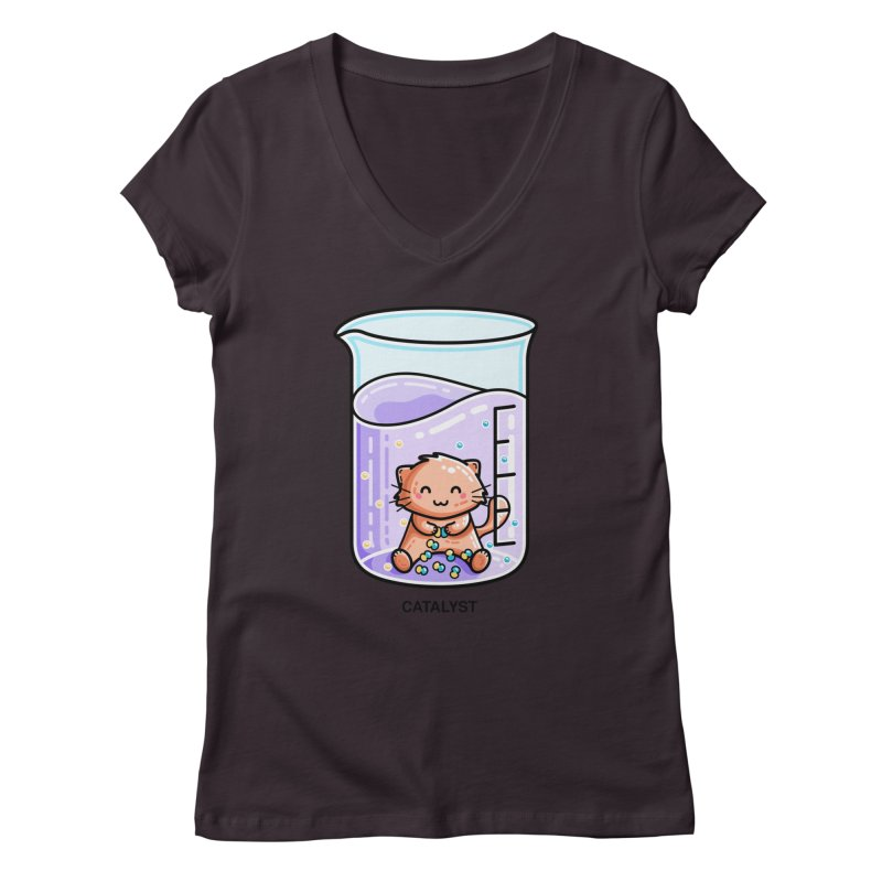 Catalyst Cute Chemistry Cat Pun Fitted V-Neck by Flaming Imp's Artist Shop