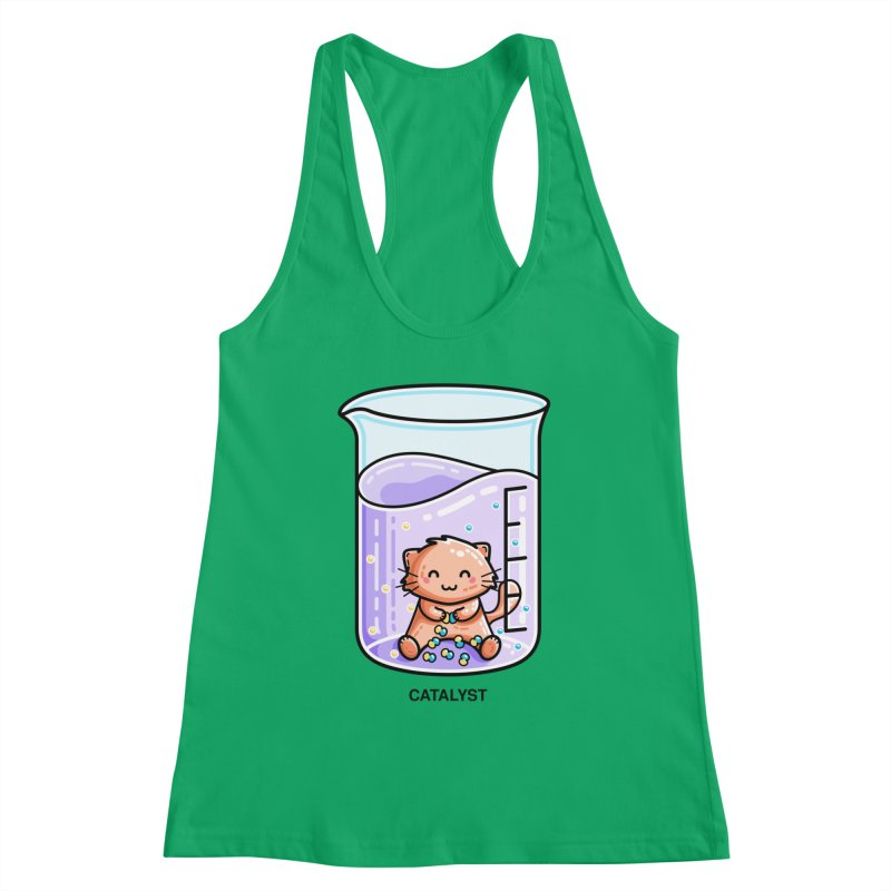 Catalyst Cute Chemistry Cat Pun Fitted Tank by Flaming Imp's Artist Shop