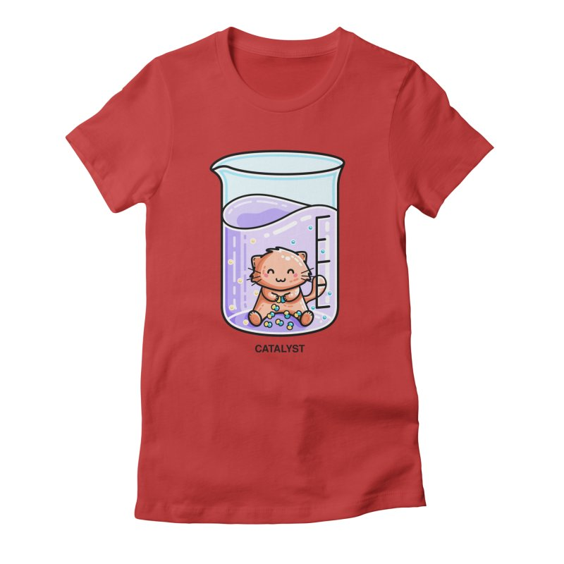 Catalyst Cute Chemistry Cat Pun Fitted T-Shirt by Flaming Imp's Artist Shop