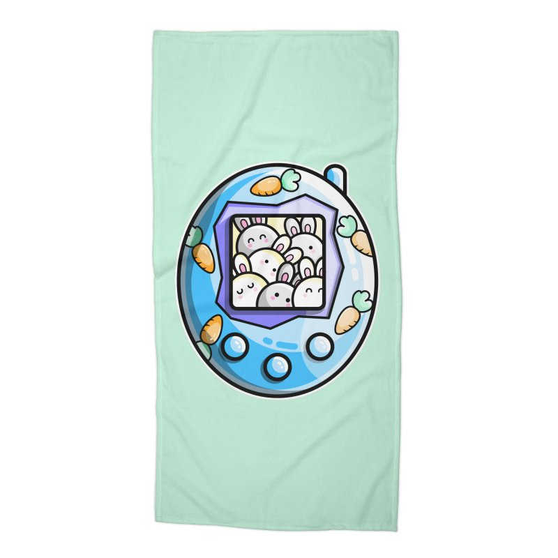 Rabbit Cute Digital Pet Accessories Beach Towel by Flaming Imp's Artist Shop