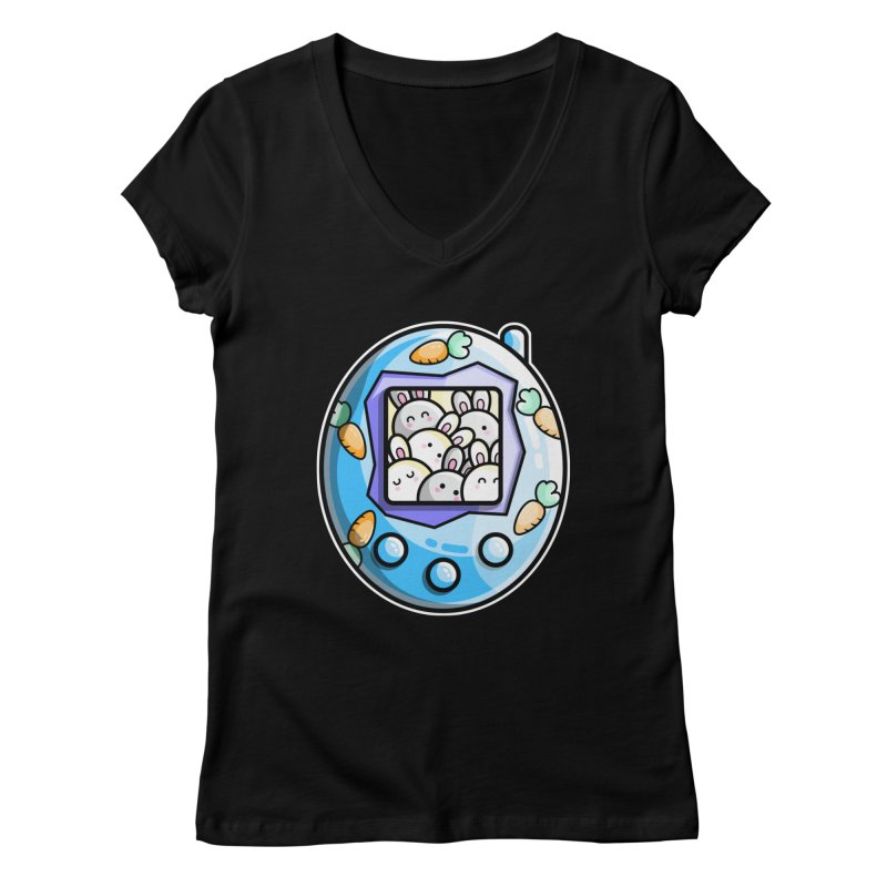 Rabbit Cute Digital Pet Fitted V-Neck by Flaming Imp's Artist Shop