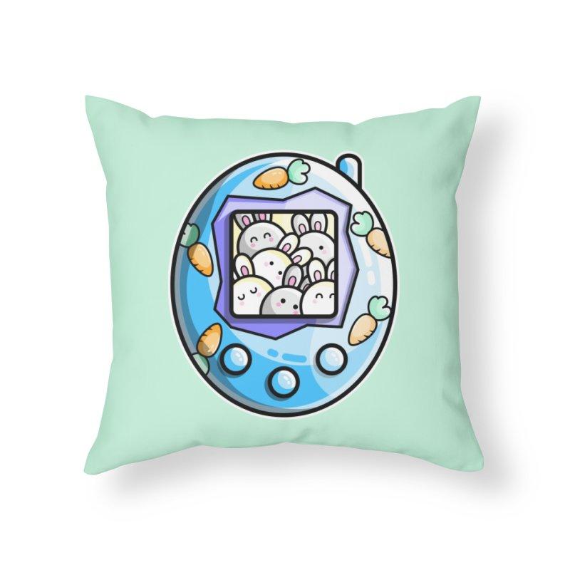 Rabbit Cute Digital Pet Home Throw Pillow by Flaming Imp's Artist Shop