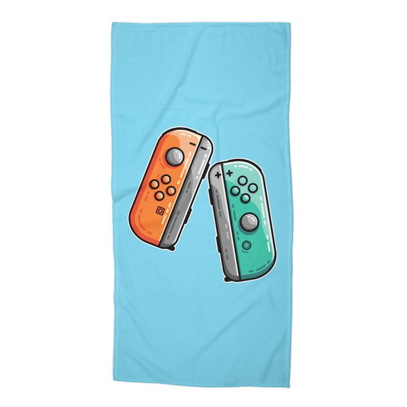 Gaming Controllers Accessories Beach Towel by Flaming Imp's Artist Shop