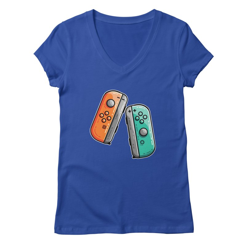 Gaming Controllers Fitted V-Neck by Flaming Imp's Artist Shop