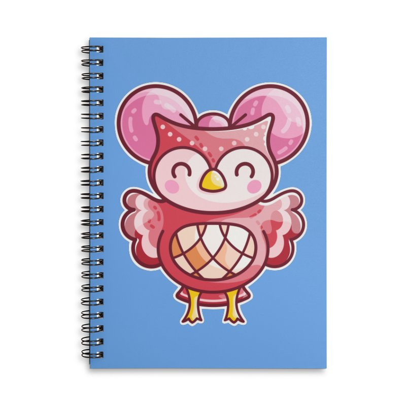 Cute Celeste Owl Accessories Lined Spiral Notebook by Flaming Imp's Artist Shop