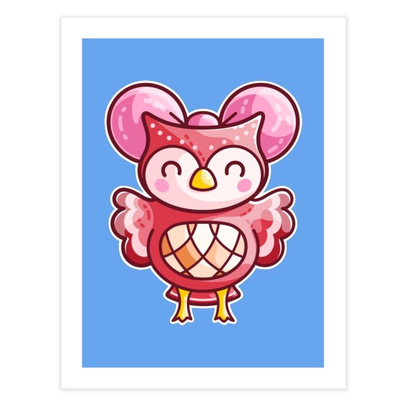Cute Celeste Owl Home Fine Art Print by Flaming Imp's Artist Shop