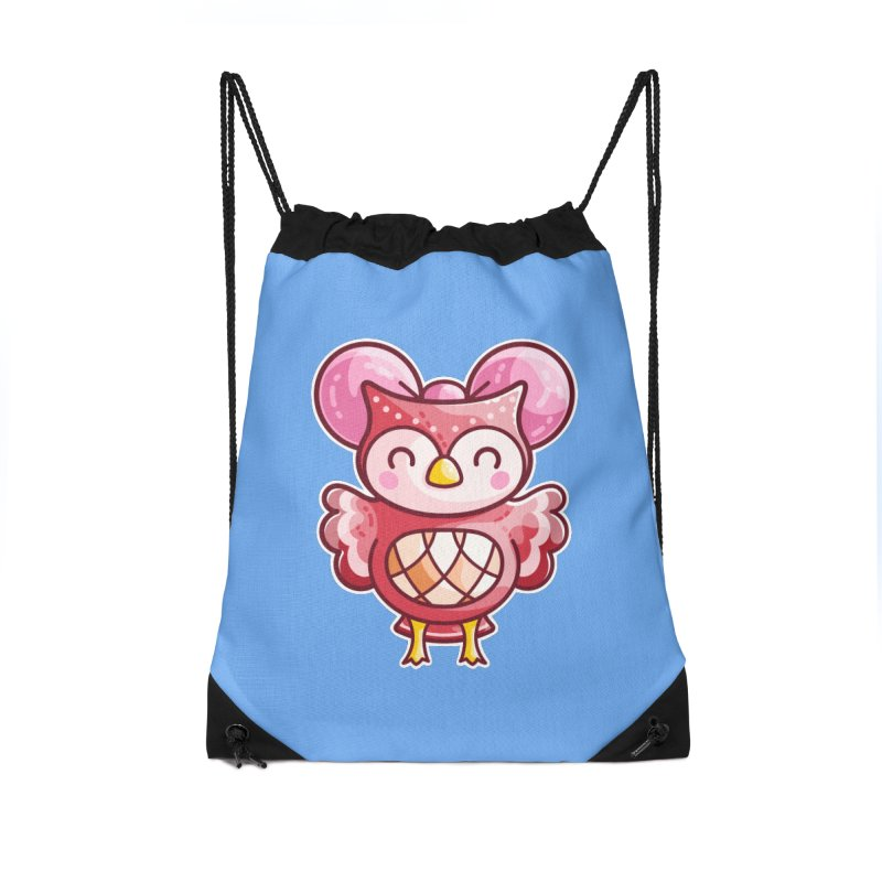 Cute Celeste Owl Accessories Drawstring Bag Bag by Flaming Imp's Artist Shop