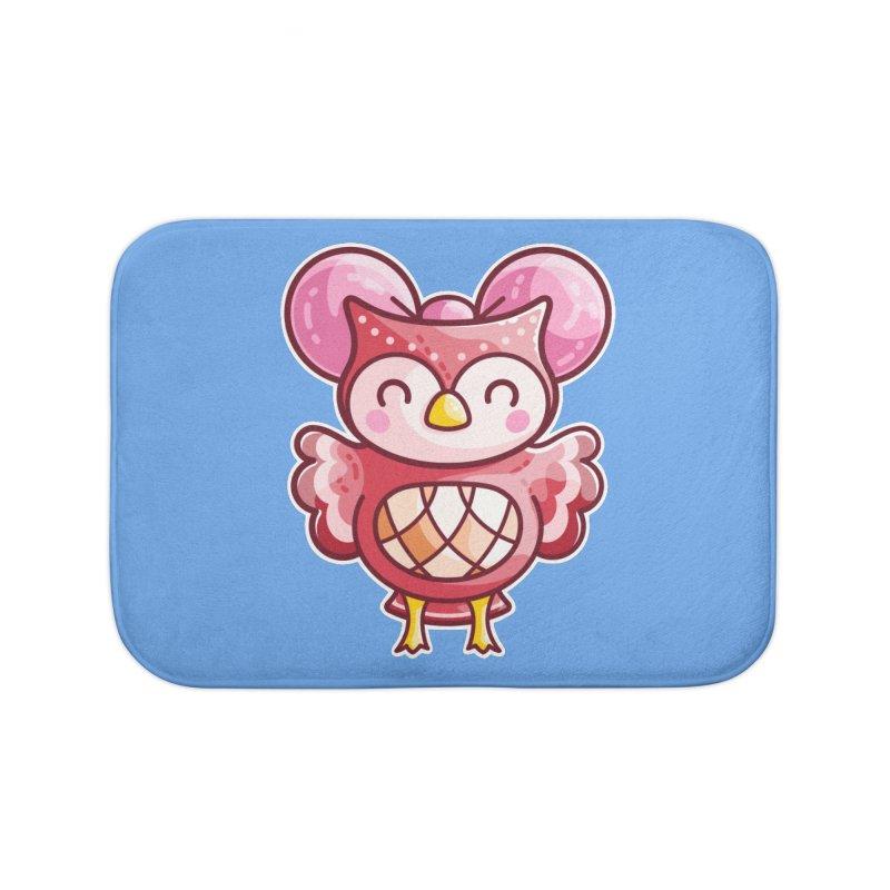 Cute Celeste Owl Home Bath Mat by Flaming Imp's Artist Shop