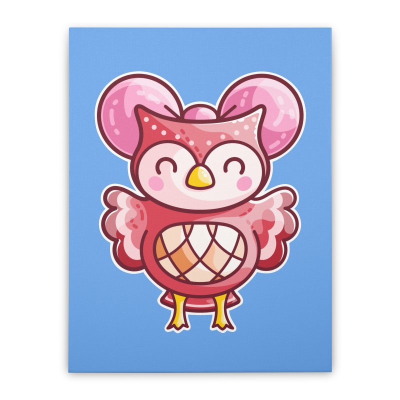 Cute Celeste Owl Home Stretched Canvas by Flaming Imp's Artist Shop