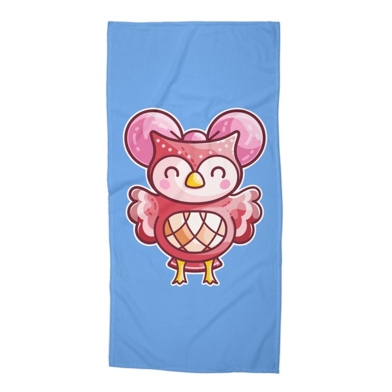 Cute Celeste Owl Accessories Beach Towel by Flaming Imp's Artist Shop
