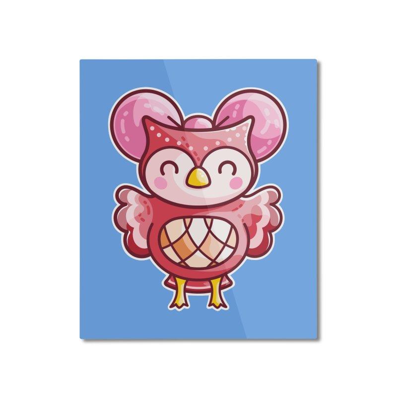 Cute Celeste Owl Home Mounted Aluminum Print by Flaming Imp's Artist Shop