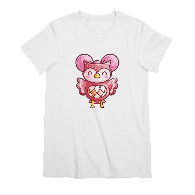 Cute Celeste Owl Women's Premium T-Shirt by Flaming Imp's Artist Shop