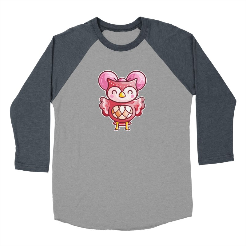 Cute Celeste Owl Women's Baseball Triblend Longsleeve T-Shirt by Flaming Imp's Artist Shop