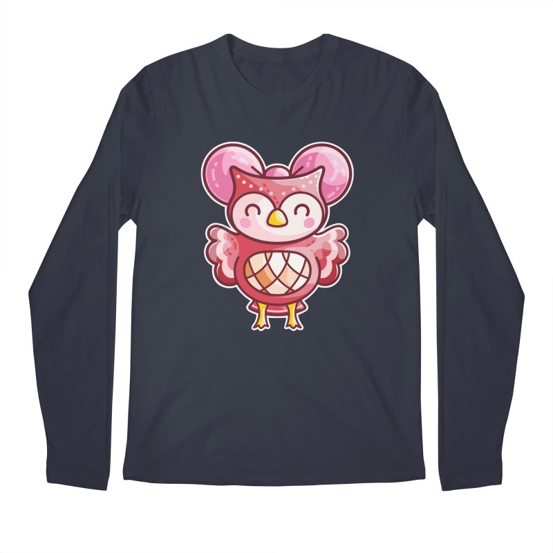 Cute Celeste Owl Men's Regular Longsleeve T-Shirt by Flaming Imp's Artist Shop
