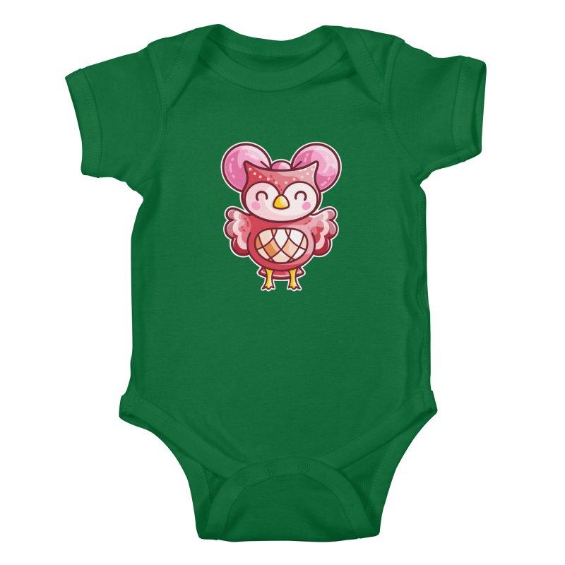 Cute Celeste Owl Kids Baby Bodysuit by Flaming Imp's Artist Shop