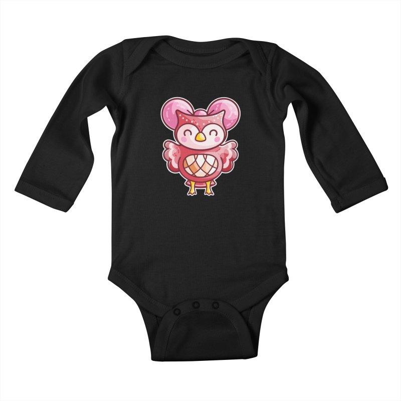 Cute Celeste Owl Kids Baby Longsleeve Bodysuit by Flaming Imp's Artist Shop