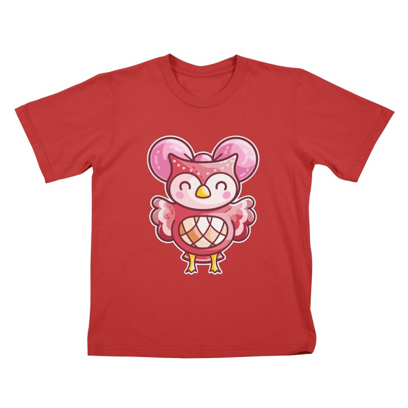 Cute Celeste Owl Kids T-Shirt by Flaming Imp's Artist Shop